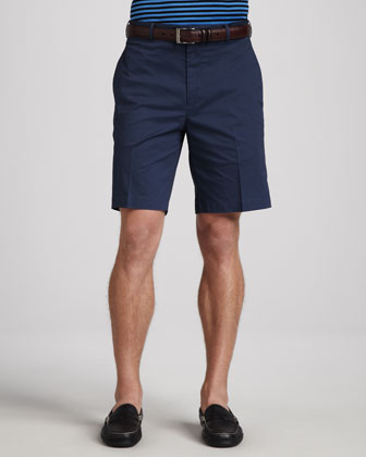 Locke Striped Lisle-Knit Polo & Stretch-Twill Shorts