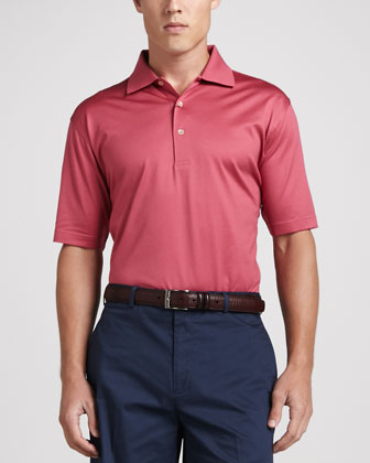 Lisle-Knit Cotton Polo, Pink