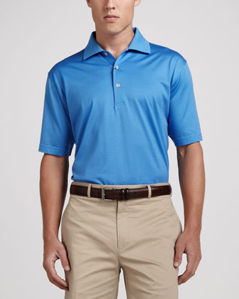 Lisle-Knit Cotton Polo, Blue