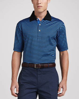 Locke Striped Lisle-Knit Polo, Black