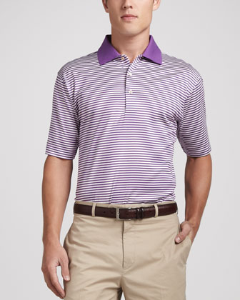 Classic Stripe Lisle-Knit Polo, Purple