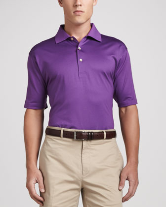Lisle-Knit Cotton Polo, Purple