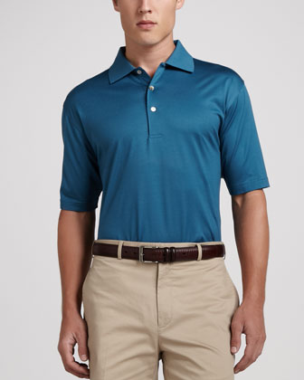 Lisle-Knit Cotton Polo, Moonstone