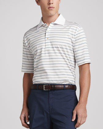 Ramstedt Striped Lisle-Knit Polo, White