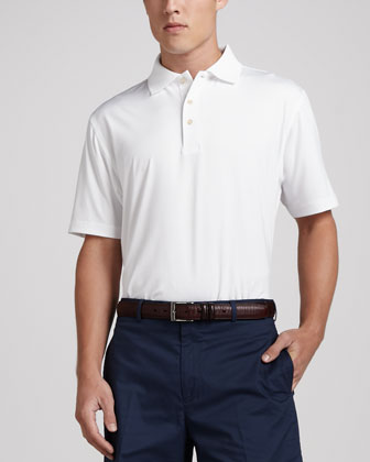Stretch-Jersey Polo, White