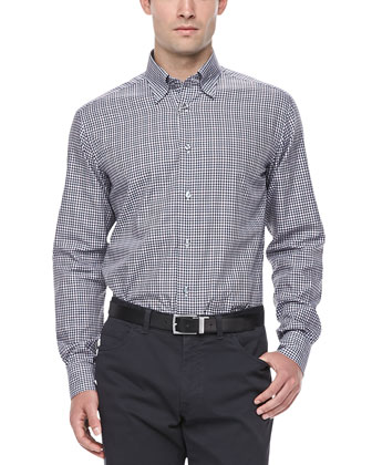 Mini-Gingham Print Dress Shirt