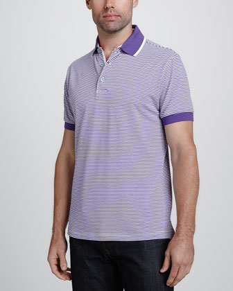 Overwash Striped Pique Polo, Purple