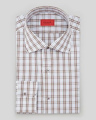 Plaid Poplin Dress Shirt, Brown