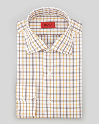 Box-Check Poplin Dress Shirt, Gold/Brown