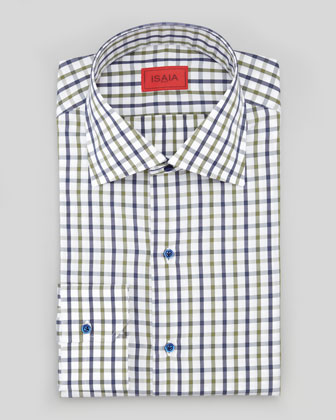 Box-Check Poplin Dress Shirt, Green/Navy