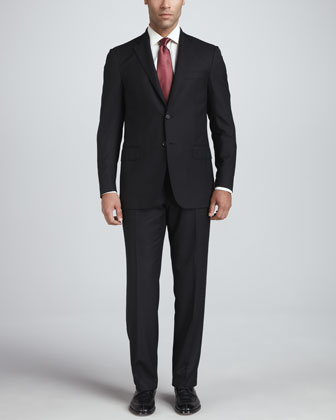 Solid Wool Suit, Black