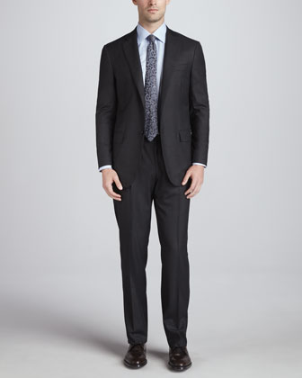 Two-Button Wool Suit, Grey