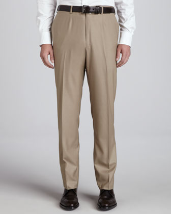 Flat-Front Trousers, Tan