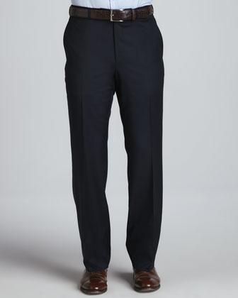 Serge Flat-Front Pants, Navy