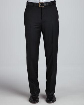 Serge Flat-Front Pants, Black