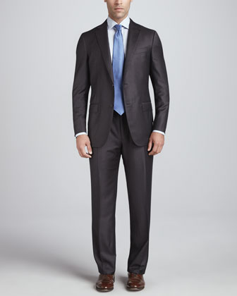 Fine-Stripe Two-Button Suit