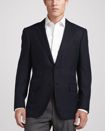 Windowpane-Check Sport Coat, Navy