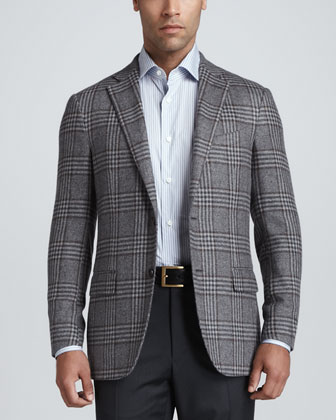 Plaid Elbow-Patch Sport Coat