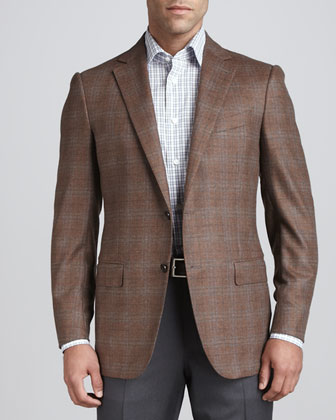 Plaid Two-Button Sport Coat