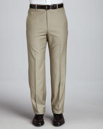Flat-Front Pants, Khaki