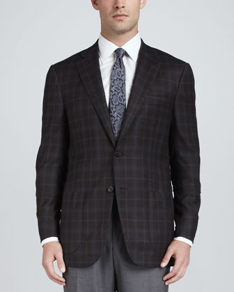 Glen Plaid Wool Blazer, Brown