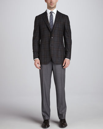 Plaid Wool Blazer, Charcoal/Brown