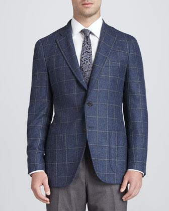 Windowpane Cashmere/Silk Blazer, Blue/Olive