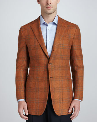 Plaid Cashmere Sport Coat, Orange