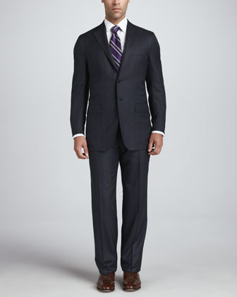 Windowpane-Check Wool Crepe Suit, Navy/Charcoal