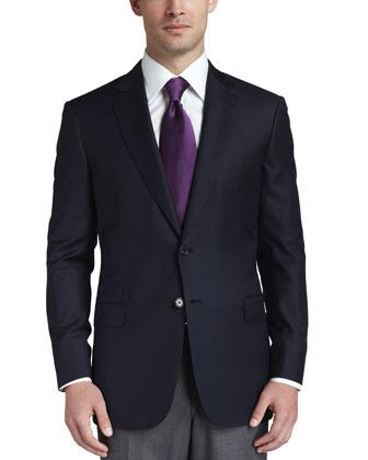 Wool Twill Blazer, Navy