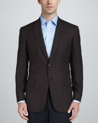 Micro-Check Sport Coat, Dark Brown
