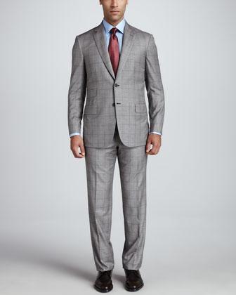 Glen Plaid Suit, Cream/Black
