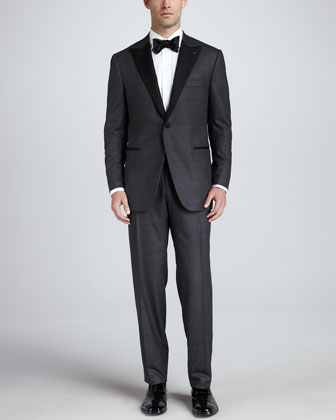 Single-Breasted Flannel Tuxedo, Charcoal