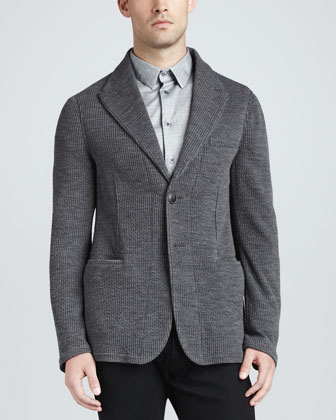 Soft Ribbed Knit Jacket, Gray