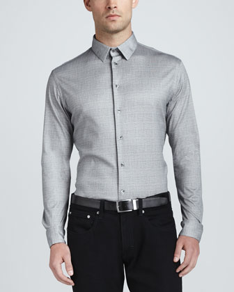 Woven Crosshatch Dress Shirt, Gray