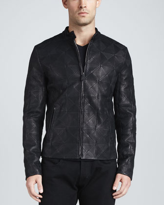 Short Pieced Leather Jacket, Midnight