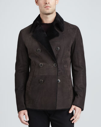 Double-Breasted Shearling Coat, Brown