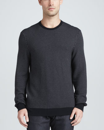 Small-Check Crew Neck Sweater
