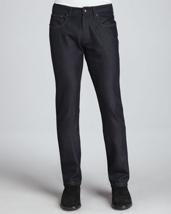 Cotton/Silk Denim Jeans, Indigo