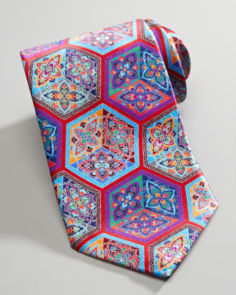 Quindici Cube-Print Silk Tie, Red