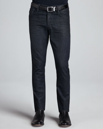 Coated Straight-Leg Denim Jeans, Navy