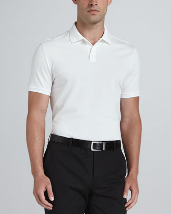 Signature Mesh Polo, White