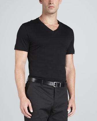 V-Neck Knit Tee, Black