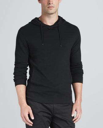 Pullover Knit Hoodie, Black
