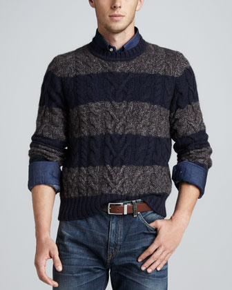 Rugby-Striped Cable-Knit Sweater, Gray/Navy Stripe