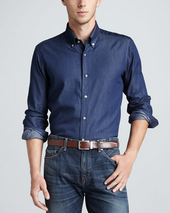 Long-Sleeve Sport Shirt, Indigo