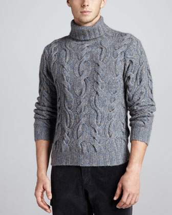 Superfine Marled Cable-Knit Turtleneck Sweater, Blue