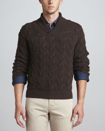 Shawl-Collar Cable-Knit Sweater