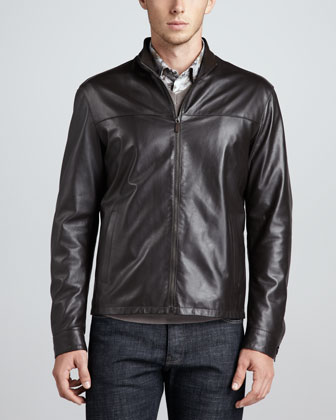 Zip-Front Leather Jacket, Brown