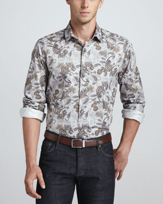Long-Sleeve Sport Shirt, Paisley